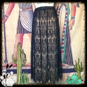 Forever 21 Black Lace Layered Maxi Skirt Size XS